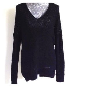 Vince oversized black knit v-neck sweater